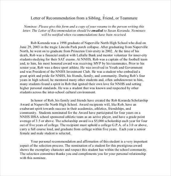 Recommendation Letters For A Friend  Free Sample Example