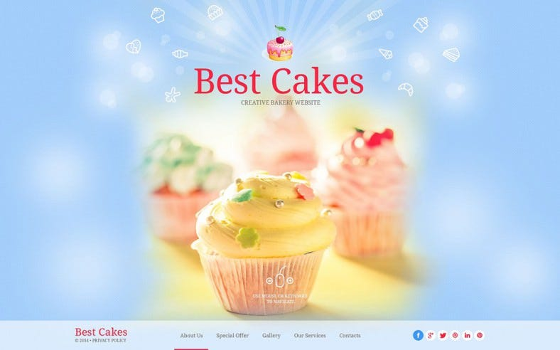 Light Version Website Template for Sweet Shop