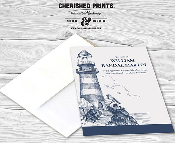 lighthouse funeral thank you note card