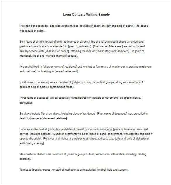long obituary writing sample