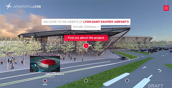 lyon airports flat design website