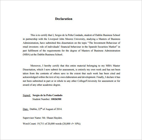 Dissertation Proposal Template 14 Free Sample Example Format