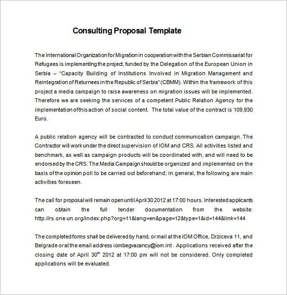 Consulting Proposal Template 13 Free Sample Example Format – Writing a Proposal Letter for a Project