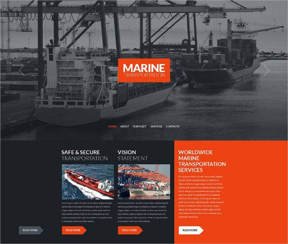 marine transport responsive website template 75