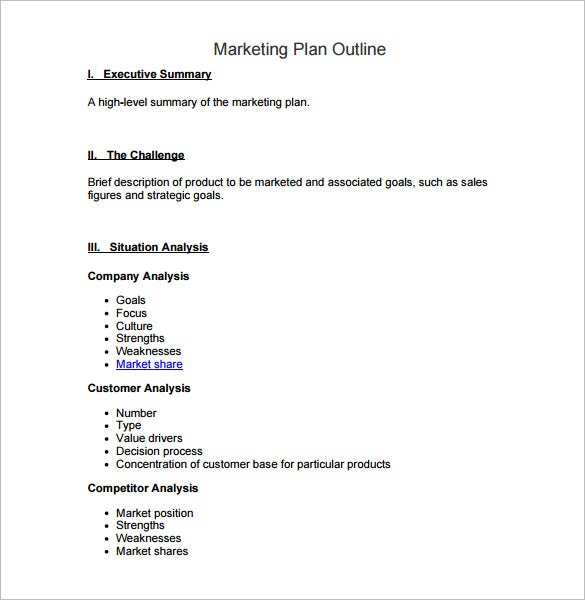 Marketing Plan Outline Template   Free Word Excel Pdf Format