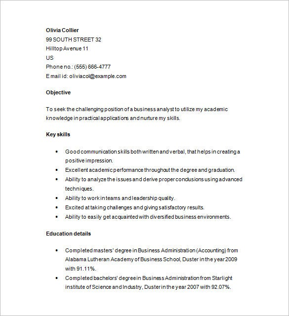 marketing analyst resume for fresher