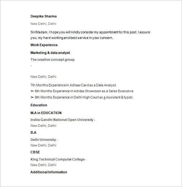 marketing data analyst resume template