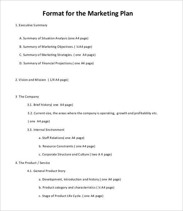 Marketing Plan Outline Template Kleo Bergdorfbib Co