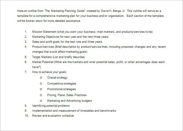 Marketing Plan Outline Template – 8+ Free Sample, Example, Format