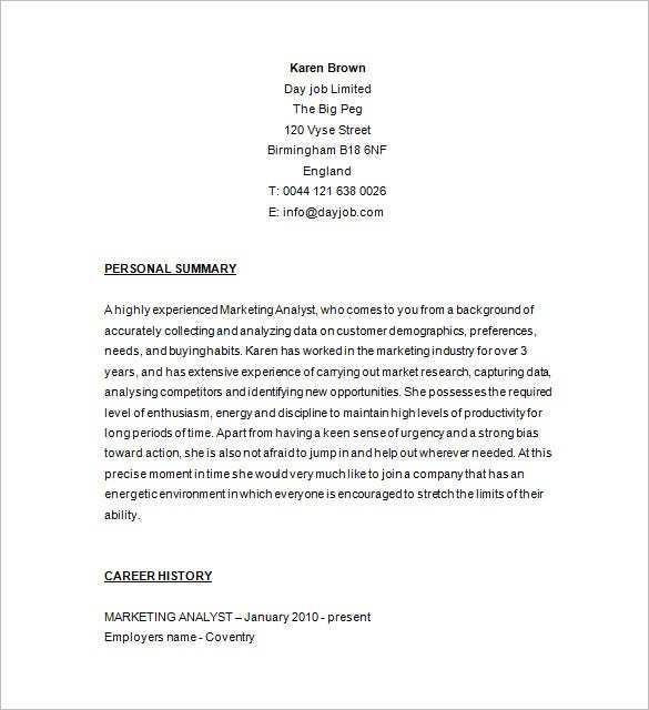 Marketing Research Analyst Resume Download