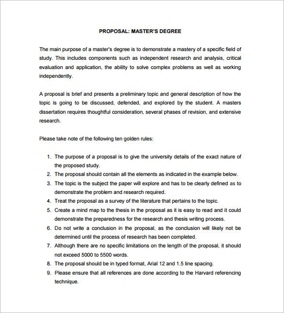 masters dissertation proposal example free download - Proposal Example
