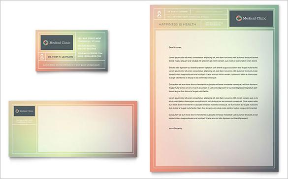 medical clinic visiting card letterhead template
