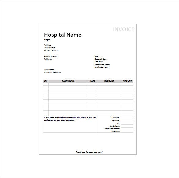 medical invoice receipt template doc free download