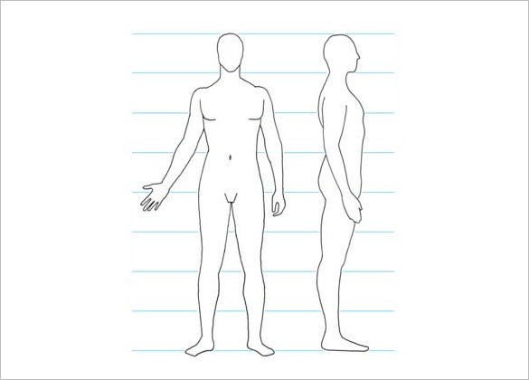 men side body outline template