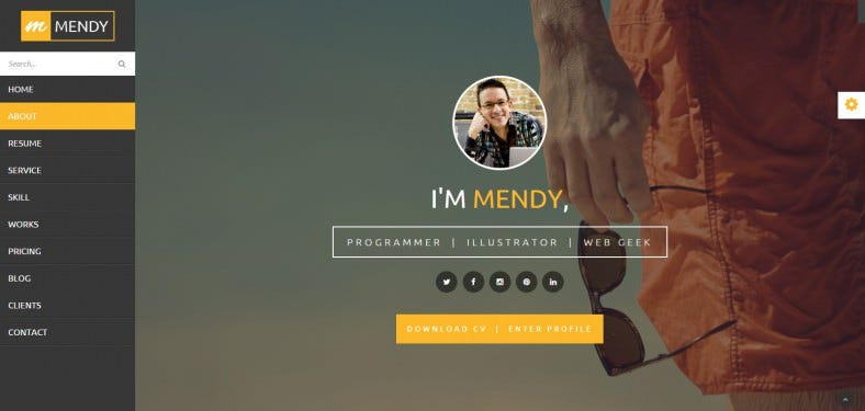 mendy personal vcard resume html5 template 788x375