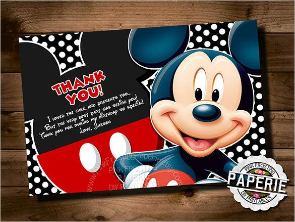 mickey mouse style birthday thank you card