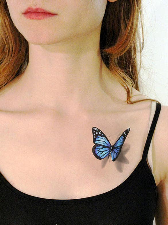mindblowing 3d butterfly tattoo design