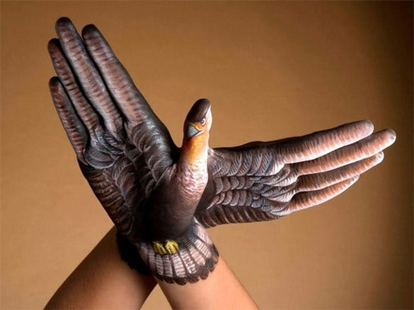 mindblowing bird 3d body painting