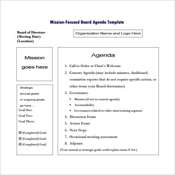 Meeting Outline Template   Free Sample Example Format
