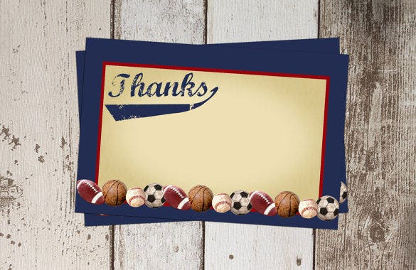 mixed sports thank you card