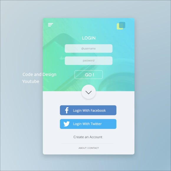 mobile app login page ui design tutorial