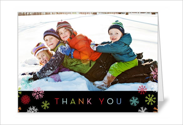 mod snowflakes thank you card