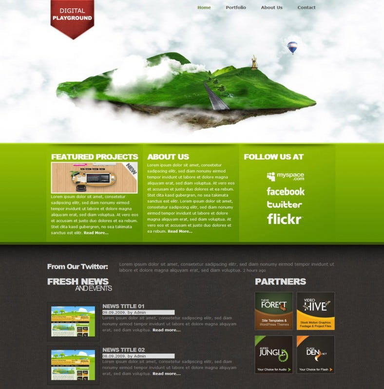 Modern Digital Floating Island Template