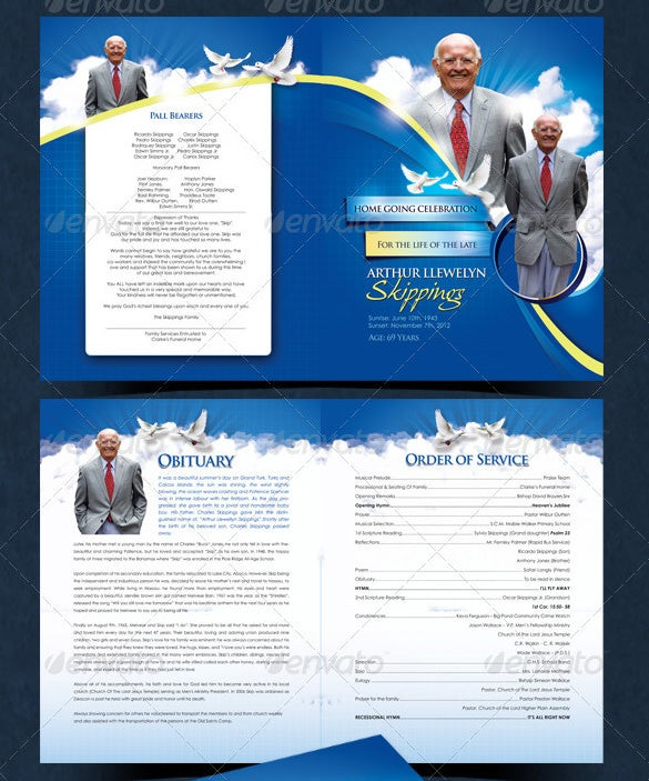 High Quality Modern Funeral Program For Died Father