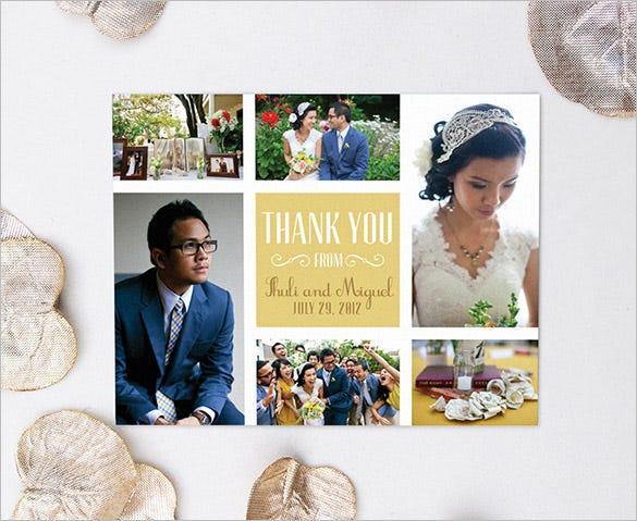 modern wedding photo thank you card collage