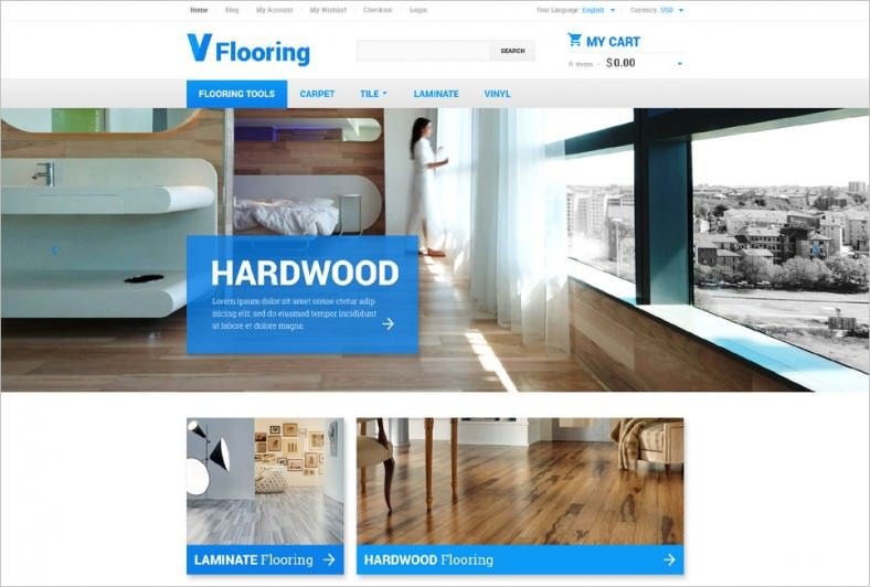 Modern Wood Flooring Magento Template