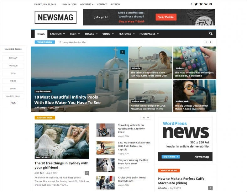 Modern WordPress Theme for News Magazine