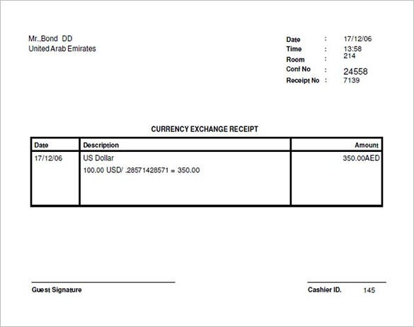 Money Exchange Receipt Format Download  Money Receipt Template