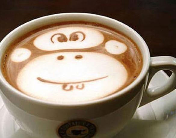monkey coffee art