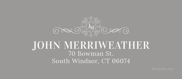 monogram address label template