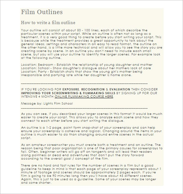 Script Outline Template   Free Sample Example Format Download