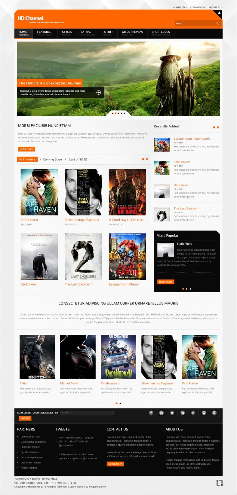 movies hd channel joomla website template 788x1647