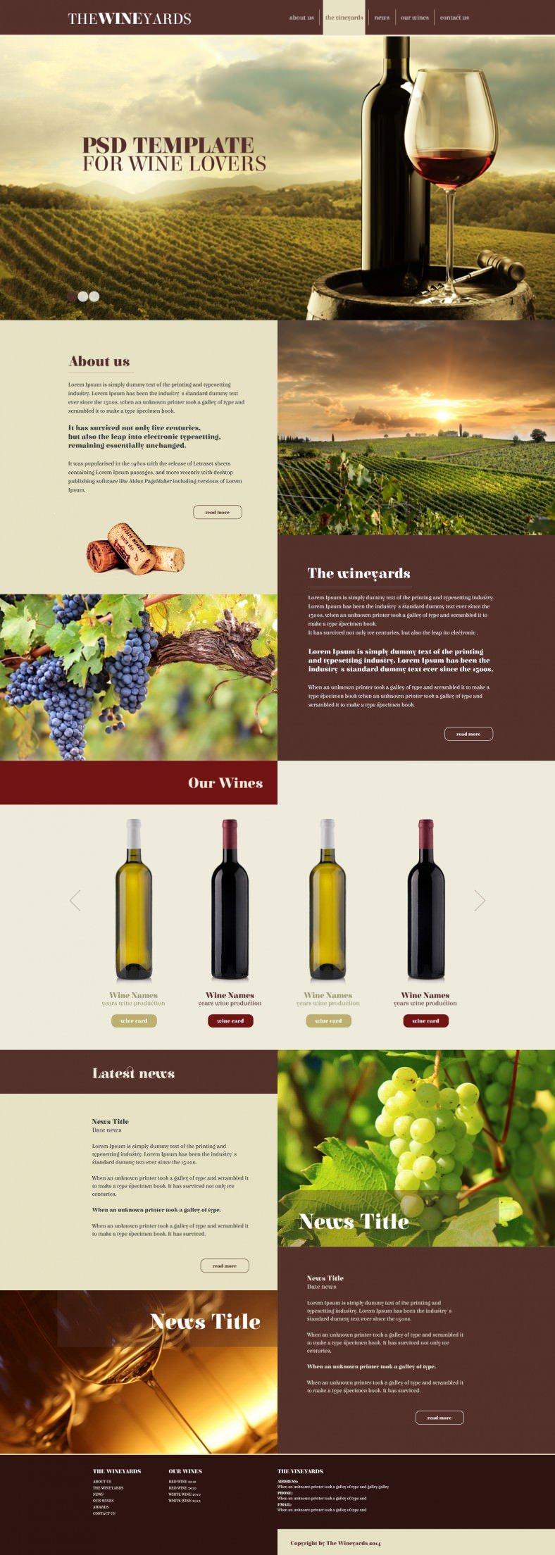 Multi Purpose Responsive PSD Template for Wine