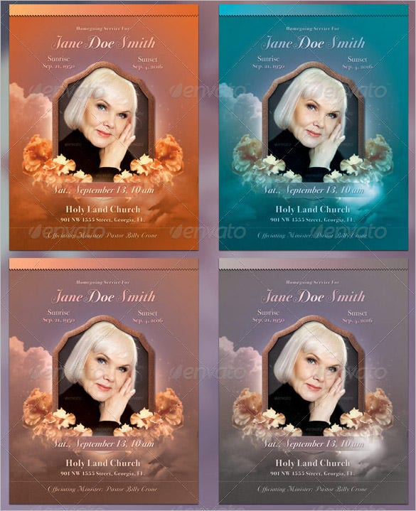 multicolour obituary program full page bi fold template