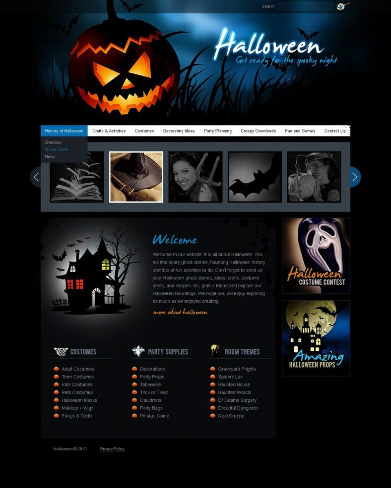 multiple sliders flash cms halloween template 788x985