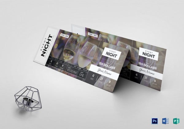 multipurpose event ticket design template in publisher