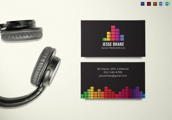 25 dj business cards free download free premium templates music producer and dj business card template accmission Gallery