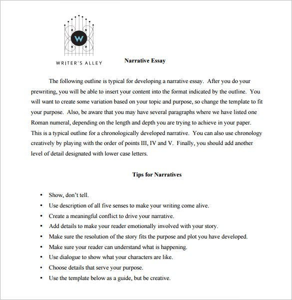 essay outline template sample example format  narrative essay outline template pdf example