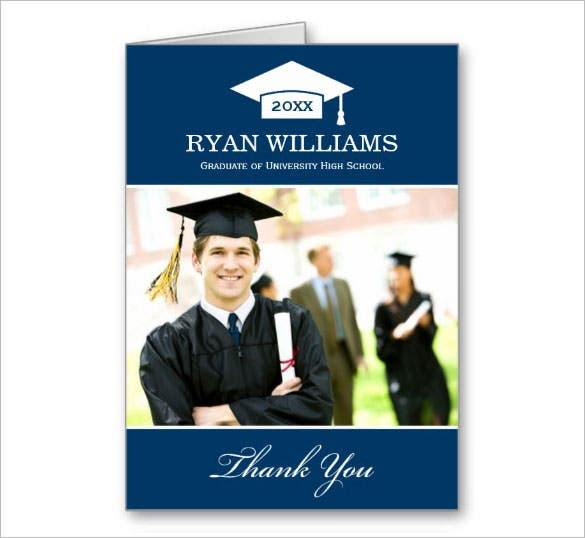 navy blue graduation thank you photocard