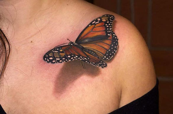 nice butterfly 3d tattoo design