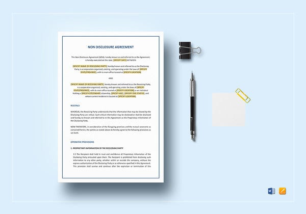 non disclosure agreement word template