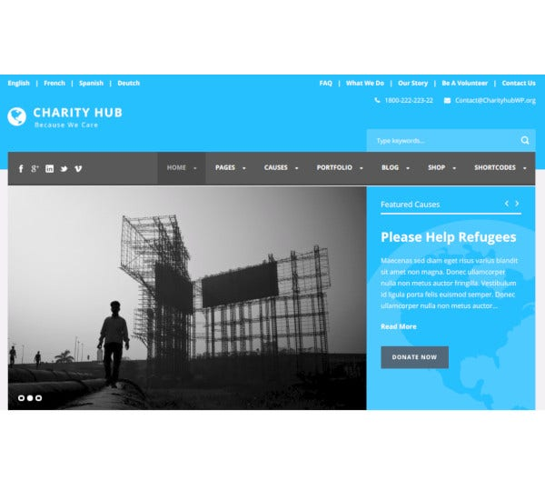 nonprofit fundraising wordpress website theme