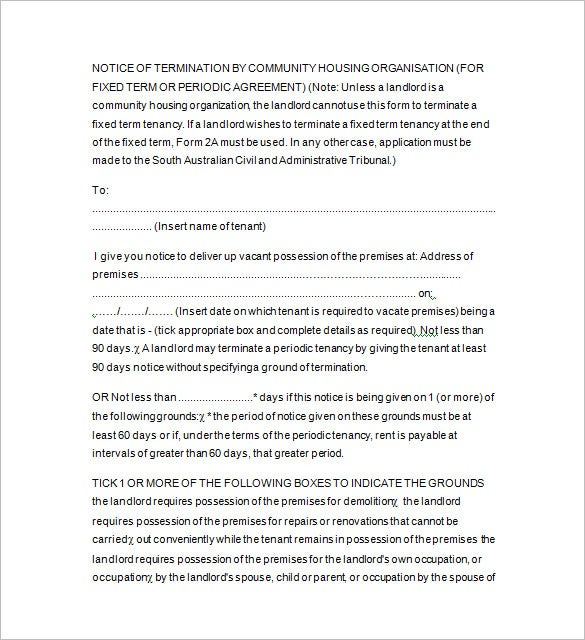 13 tenancy notice templates free word excel pdf format notice of termination by landlord template spiritdancerdesigns Images