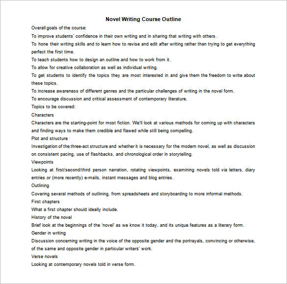 novel writing course outline for free