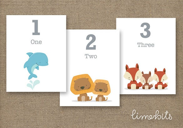 number animal flash card 6