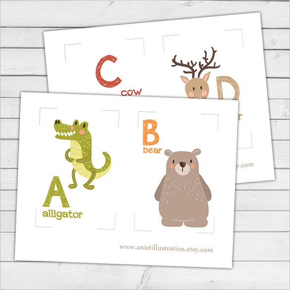 Nursery A Z Animal Alphabet Flash Card Set